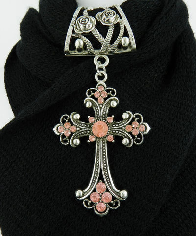 Pink,Scarf,Jewelry,with,Rhinestone,Cross,~,Pendant,Accessory~,Charm,Accessories,scarf_charm,scarf_accessory,scarf_pendant,scarf_jewelry,crystal_cross,rhinestone_cross,cross_pendant,scarf_slide,scarf_bling,religious_jewelry,pink_cross,rose_bail