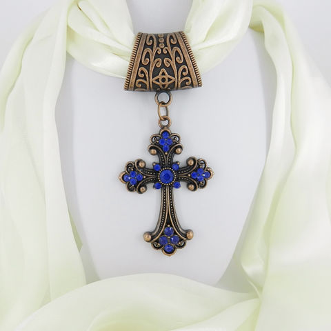 Copper,Scarf,Pendant,with,Cobalt,Blue,Cross,~,Jewelry,Accessory~,Charm,Slide,scarf_charm,scarf_accessory,scarf_pendant,scarf_jewelry,crystal_cross,rhinestone_cross,cross_pendant,scarf_slide,scarf_bling,religious_jewelry,cobalt_blue,blue_crystal,antique_copper,Cobalt blue crystal cross,antique copper Art Nouveau style bail