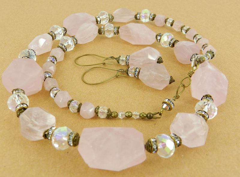 Rose Quartz Necklace & Earring Set ~Chunky Nuggets ~ One of a Kind - product images  of