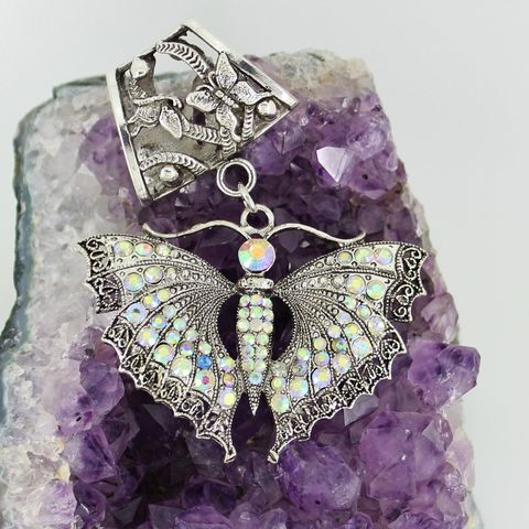 Butterfly,Scarf,Jewelry,~,Large,AB,Rhinestone,Pendant,Accessory~,Charm,scarf_charm,scarf_accessory,scarf_pendant,scarf_jewelry,cross_pendant,scarf_slide,scarf_bling,rose_bail,antique_silver,aurora_borealis,butterfly_pendant,crystal_butterfly,butterfly_slide,rose design bail,large crystal butterfly pendant