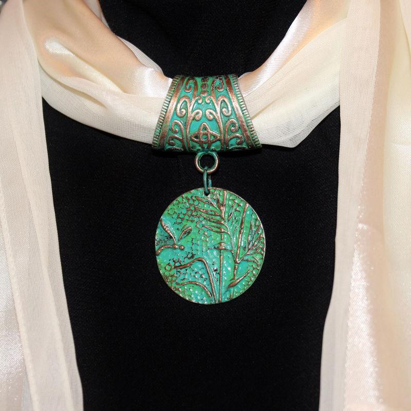 Dragonfly Jewelry ~ Scarf Slide in Aqua Patina ~ Scarf Accessory ...