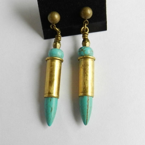 Spike,Earrings,,Bullet,Jewelry,,Turquoise,Post,Earrings,Jewelry,dagger_earrings,spike_earrings,turquoise_earrings,bullet_earrings,spent_bullets,bullet_casings,post_earrings,spent bullet casings,turquoise magnesite spikes,post earring findings,jump rings,pins,metal beads,turquoise magnesite rondelles