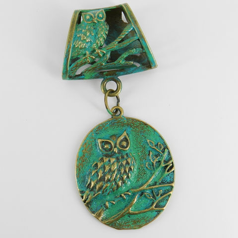 Owl,Scarf,Pendant,with,Aqua,Patina,~,Jewelry,Verdigris,Accessories,owl_charm,owl_pendant,scarf_charm,scarf_accessory,scarf_pendant,crystal_owl,black_owl,patinated_jewelry,Gift_for_her,woodland,animal_jewelry,owl_jewelry,verdigris_jewelry,bail,jump rings,love,design,creativity,patina,sealer
