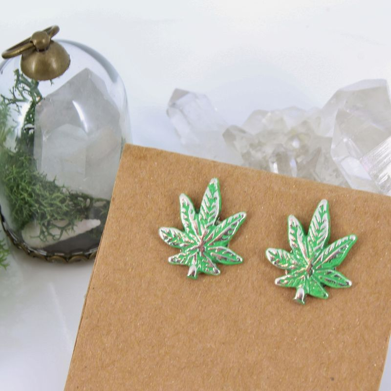 Cannabis Leaf Post Earrings  - product images  of