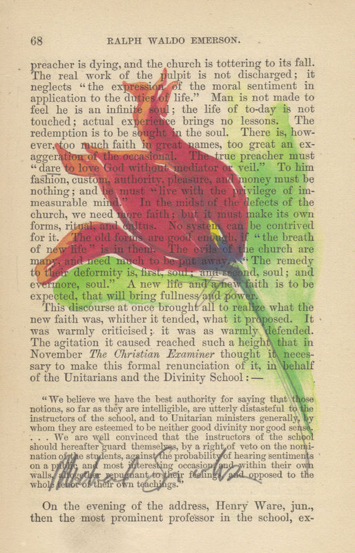 Spikey Red Tulip Watercolor Print on Antique Book Page - product image
