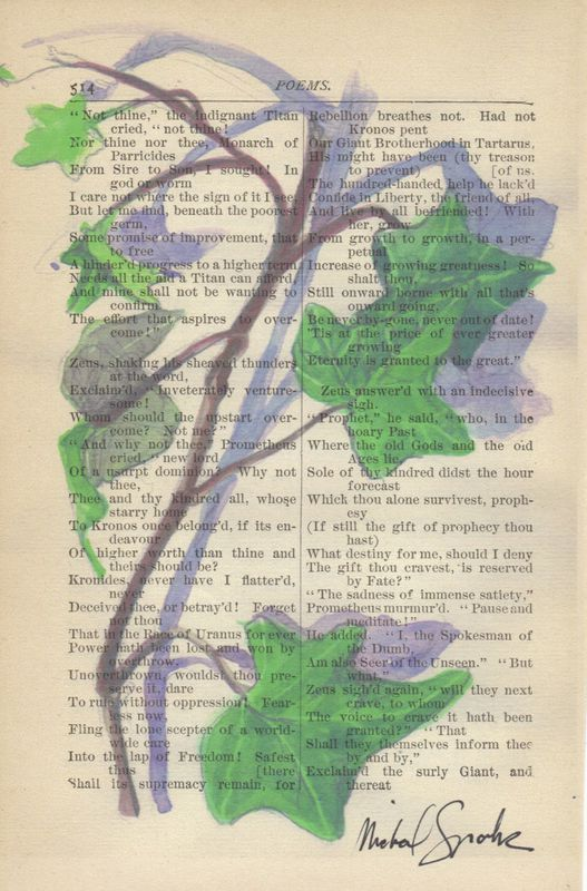 Watercolor Botanical Illustration of Ivy Printed on Antique Book Page - product images  of
