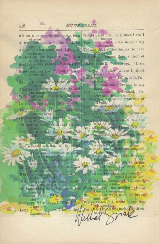 Wild Flowers in Bloom Watercolor Print on Antique Book Page - product image