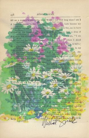 Wild,Flowers,in,Bloom,Watercolor,Print,on,Antique,Book,Page,Art,Mixed_Media,watercolor,wild_flower,home_decor,antique_book_page,michal_sparks,wall_decor,illustration,floral_art,watercolor_floral,summer_floral,bridal_floral,daisies,watercolor_art,watercolor_print