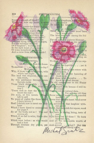 Mini,Pink,Carnations,Printed,on,Antique,Book,Page,Art,Painting,Print,Pinks,Pink_flowers,botanical,nature,floral,watercolor,illustration,mini_carnations,wall_art,girl_room_art,home_decor,a_clever_spark,wholesale,watercolor_illustration,antique_book_page