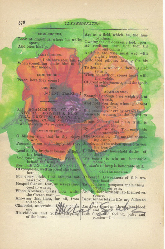 Red Poppy Watercolor Printed on Antique Book Page - product image