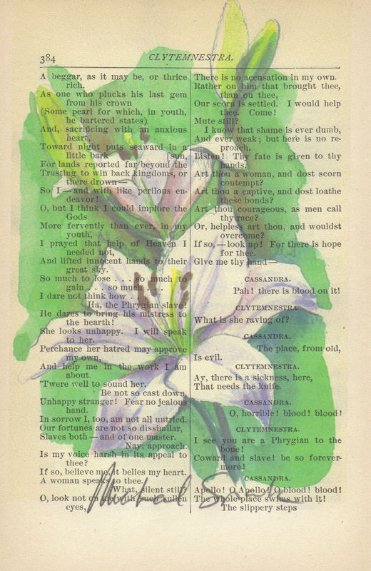 White Spring Lily Watercolor Printed on Antique Book Page   - product image