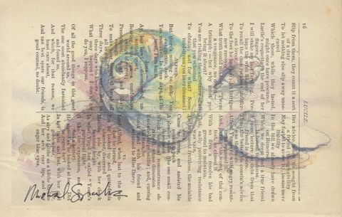 Watercolor,Shells,Printed,on,Antique,Book,Page,Art,Print,Mixed_Media,shells,beach,watercolor,poetry,shore,antique_book_page,home_decor,signed_print,unique_gift,recycled,illustration,pastel_colored,new_jersey_shells,antique_poetry_page,watercolor_print
