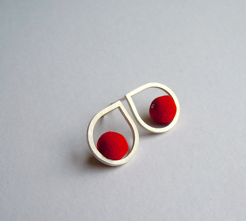 Silver,and,Red,Lava,Bead,Earrings,by,Oxx,Jewellery