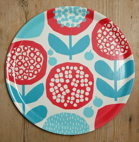 Poppy,Tray,in,red/blue,by,Kate,Clarke,London,Birchwood tray, red and blue tray, Kate Clarke London