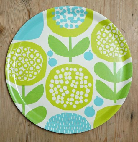 Tray,in,green/blue,by,Kate,Clarke,London,Birchwood tray, green and blue tray, Kate Clarke London