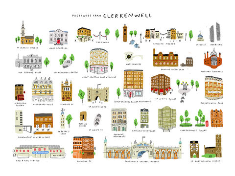 Postcards,from,Clerkenwell,print,by,Mercedes,Leon,clerkenwell print