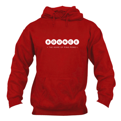 Bounce,'Home,of,Ping,Pong',Hoodie,Unisex,Red, Hoodie, Jumper, Home of Ping Pong, Ping Pong club, Table Tennis, London, Holborn