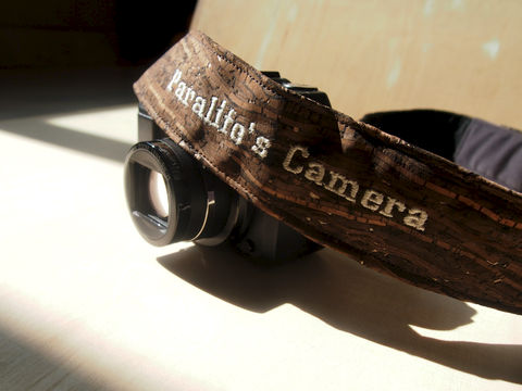 Wooden,grain,cork,camera,strap,(4,cm),(Add,on,Embroidery,Name)