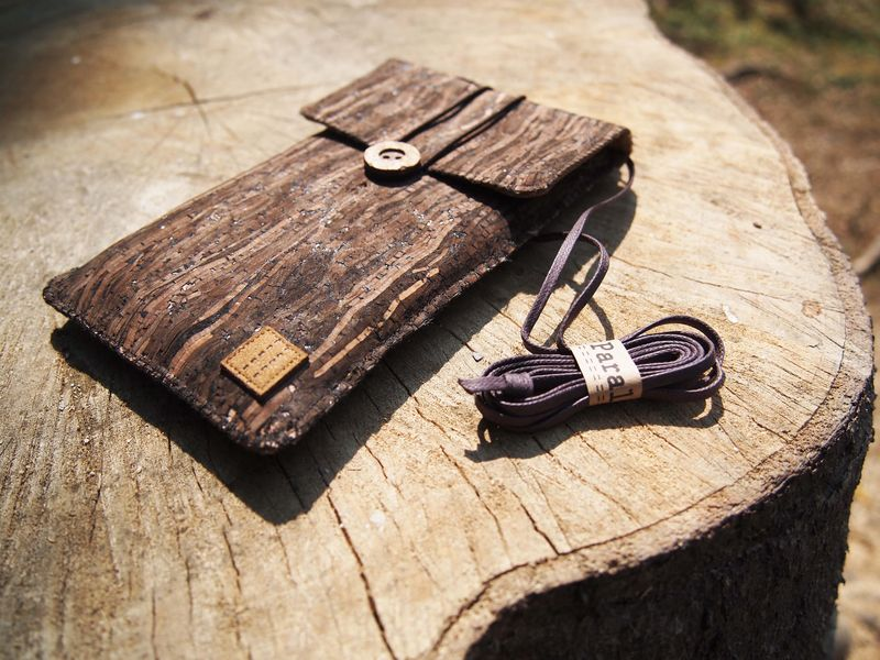 Wooden grain cork phone pouch with cover (vertical)  (custom made for any model) - product images  of