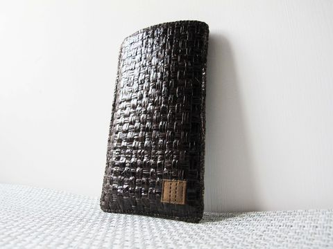 Dark,brown,grass,woven,phone,sleeve,(custom,made,for,any,model)