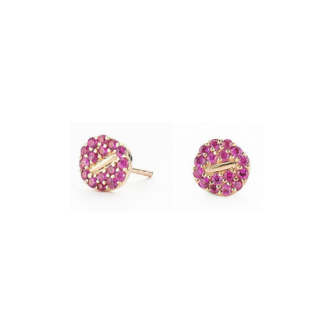 Pink,Button,Earrings,button, earring, pink, sapphire