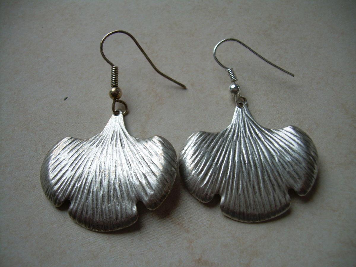 Silver Ginkgo Leaf Earrings