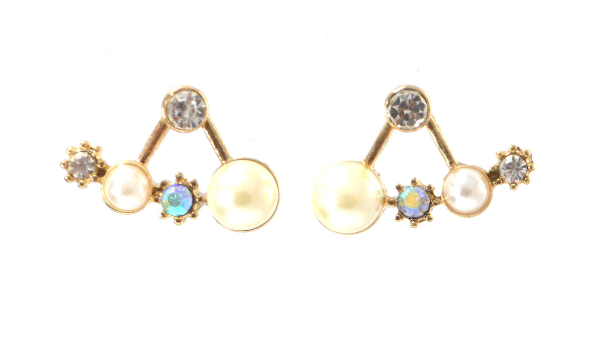 pearl and front and back ear jacket stud earrings