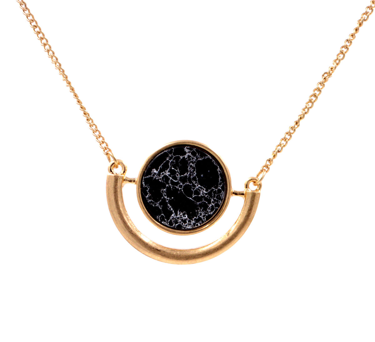 Marble Stone Jewelry : Black moon marble effect stone necklace in gold