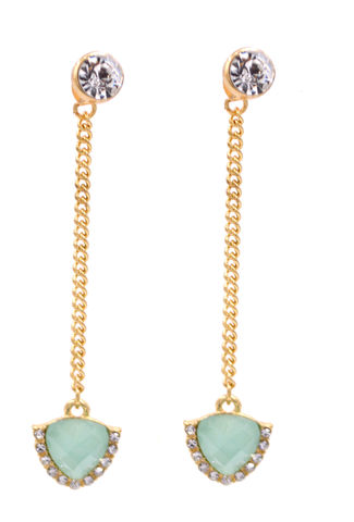 Front,and,Back,Two,Part,Design,-,Aqua,Blue,Crystal,Drop,Dangling,Earrings,in,Gold,Tone,(In,Organza,Bag),Front and Back Two Part Design - Aqua Blue Crystal Drop Dangling Earrings in Gold Tone (In Organza Bag)