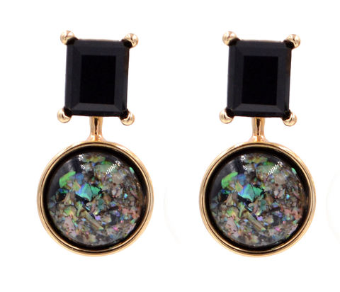 Front,and,Back,Two,Part,Earrings,-,Black,Crystal,Crushed,Abalone,Shell,Cabochon,Square,Circle,(In,Organza,Bag),Front and Back Two Part Earrings - Black Crystal and Crushed Abalone Shell Cabochon - Square and Circle (In Organza Bag)