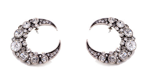 Very,Large,Oversized,Crescent,Moon,Stud,Earrings,Encrusted,with,Crystals,in,Antique,Silver,(In,Organza,Bag),Very Large Oversized Crescent Moon Stud Earrings Encrusted with Crystals in Antique Silver  (In Organza Bag)
