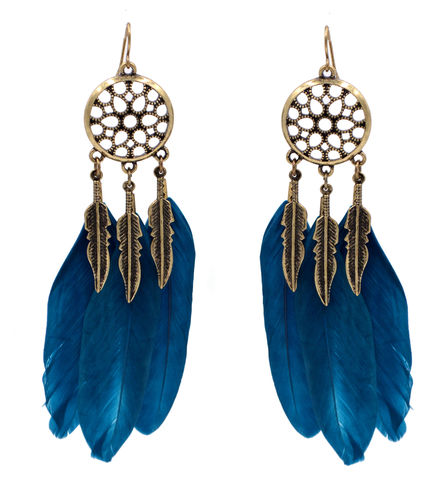 Dream,Catcher,Design,Antique,Bronze,Drop,Hook,Earrings,with,Blue,Feathers,(In,Organza,Bag),Dream Catcher Design Antique Bronze Drop Hook Earrings with Blue Feathers (In Organza Bag)