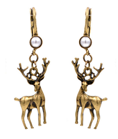 Antique,Bronze,Stag,Deer,with,Antlers,Drop,French,Hook,Earrings,Pearls,(In,Organza,Bag),Antique Bronze Stag Deer with Antlers Drop French Hook Earrings with Pearls (In Organza Bag)