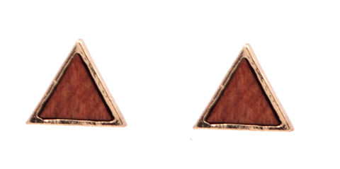Geometric,Triangle,Stud,Earrings,with,Real,Wood,(In,Organza,Bag),Geometric Triangle Stud Earrings with Real Wood (In Organza Bag)