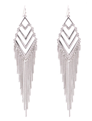 Rhodium,Plated,Beautiful,Silver,Cascade,Chevron,Drop,Hook,Earrings,with,Tassel,Chains,(In,Organza,Bag),Rhodium Plated Beautiful Silver Cascade Chevron Drop Hook Earrings with Tassel Chains (In Organza Bag)
