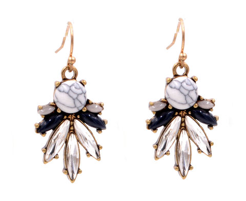 White,Turquoise,Stone,and,Crystals,Cluster,Drop,Hook,Earrings,-,Antique,Gold,Tone,(In,Organza,Bag),White Turquoise Stone and Crystals Cluster Drop Hook Earrings - Antique Gold Tone (In Organza Bag)