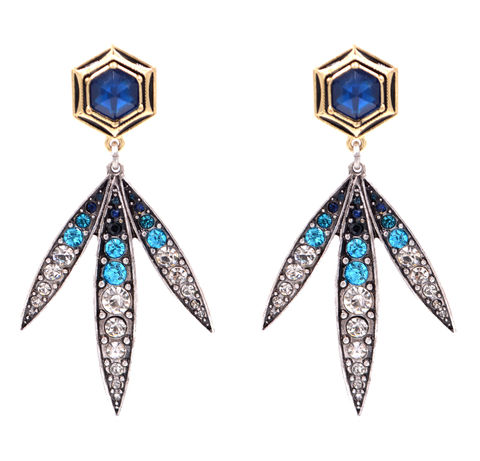 Shades,of,Blue,Hexagon,Stud,Earrings,Statement,Style,Encrusted,with,Crystals,(In,Organza,Bag),Shades of Blue Hexagon Stud Earrings Statement Style Encrusted with Crystals (In Organza Bag)
