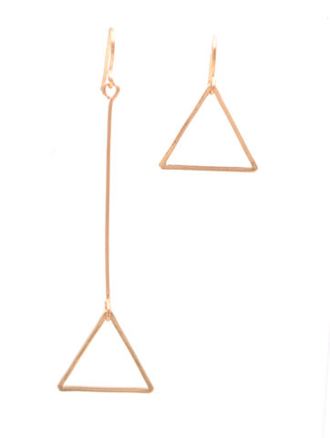 Geometric,Minimalist,Triangle,Mismatched,Drop,Hook,Earrings,in,Gold,Tone,(In,Organza,Bag),Geometric Minimalist Triangle Mismatched Drop Hook Earrings in Gold Tone (In Organza Bag)