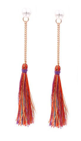 Pearl,and,Tassel,Front,Back,Two,Part,Earrings,-,Multicoloured,Thread,(In,Organza,Bag),Pearl and Tassel Front and Back Two Part Earrings - Multicoloured Thread (In Organza Bag)