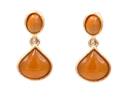 Antique,Gold,Honey,Amber,Crystal,Drop,Earrings,(In,Organza,Bag),Antique Gold Honey Amber Crystal Drop Earrings (In Organza Bag)