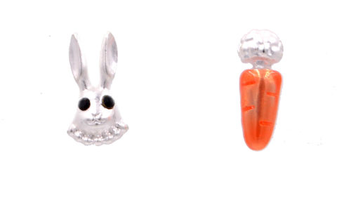 Matte,Silver,Little,Rabbit,Bunny,and,Carrot,Mismatched,Stud,Earrings,(In,Organza,Bag),Matte Silver Little Rabbit Bunny and Carrot Mismatched Stud Earrings (In Organza Bag)