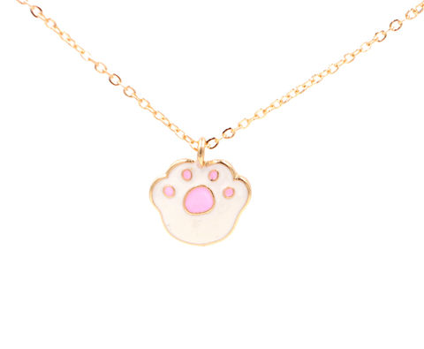 Super,Cute,Little,Animal,Paw,Enamel,Dainty,Necklace,in,Gold,Tone,(In,Organza,Bag),Super Cute Little Animal Paw Enamel Dainty Little Necklace in Gold Tone (In Organza Bag)