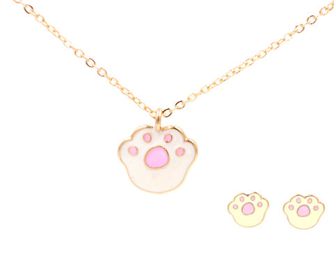 Jewellery,Set,-,Super,Cute,Little,Animal,Paw,Enamel,Necklace,and,Stud,Earrings,(In,Organza,Bag),Jewellery Set - Super Cute Little Animal Paw Enamel Necklace and Stud Earrings (In Organza Bag)