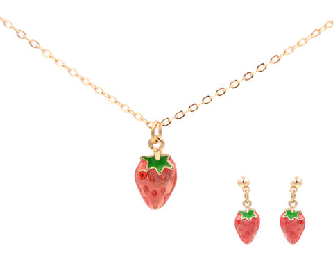 Jewellery,Set,-,Juicy,Strawberry,Drop,Stud,Earrings,and,Necklace,with,Enamel,Glaze,in,Gold,Tone,(In,Organza,Bag),Jewellery Set - Juicy Strawberry Drop Stud Earrings and Necklace with Enamel Glaze in Gold Tone (In Organza Bag)