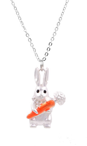 Matte,Silver,Little,Rabbit,Bunny,Holding,a,Carrot,Long,Necklace,(In,Organza,Bag),Matte Silver Little Rabbit Bunny Holding a Carrot Long Necklace (In Organza Bag)