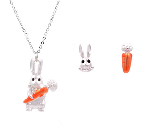 Jewellery,Set,-,Matte,Silver,Little,Rabbit,Bunny,Holding,a,Carrot,Long,Necklace,and,Mismatched,Earrings,(In,Organza,Bag),Jewellery Set - Matte Silver Little Rabbit Bunny Holding a Carrot Long Necklace and Mismatched Earrings (In Organza Bag)