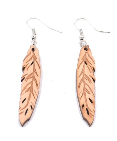 Hand,Crafted,Wooden,Feather,Drop,Hook,Earrings,made,with,Real,Wood,(In,Organza,Bag),Hand Crafted Wooden Feather Drop Hook Earrings made with Real Wood (In Organza Bag)