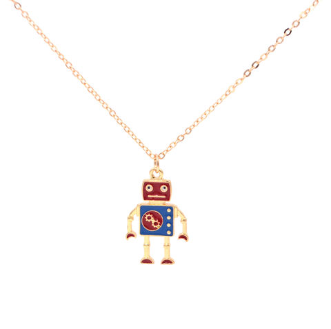 Gold,Tone,Little,Robot,Necklace,-,Super,Cute,18'',(In,Organza,Bag),Gold Tone Little Robot Necklace - Super Cute - 18'' (In Organza Bag)