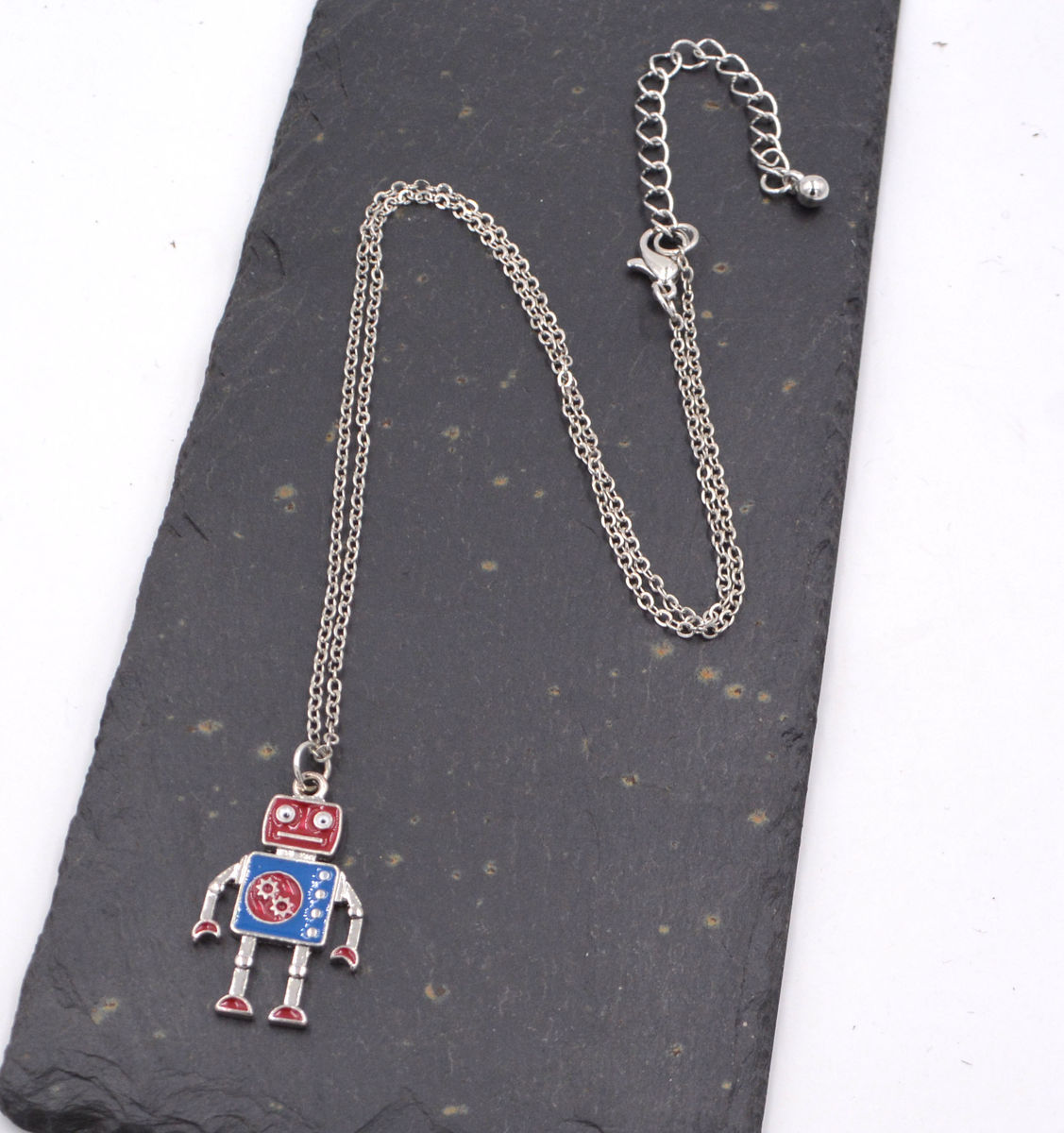 Jewellery Set Silver Tone Little Robot Necklace And Earrings Super Cute 18