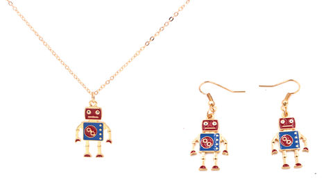 Jewellery,Set,-,Gold,Tone,Little,Robot,Necklace,and,Earrings,Super,Cute,18'',(In,Organza,Bag),Jewellery Set - Gold Tone Little Robot Necklace and Earrings - Super Cute - 18'' (In Organza Bag)